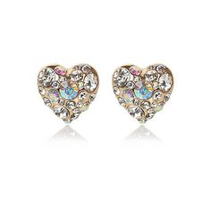 Gold tone embellished heart stud earrings £5.00