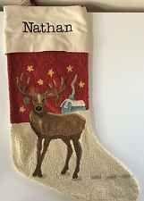 POTTERY BARN CREWEL EMBROIDERED REINDEER CHRISTMAS STOCKING *NATHAN* NEW DEER