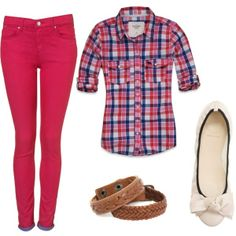 Bright pink skinnies with some tall brown boots. Adorable.