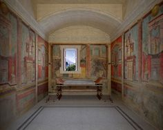 VILLA AT BOSCOREALE near Pompeii—View of north wall of room M, the cubiculum or sleeping room