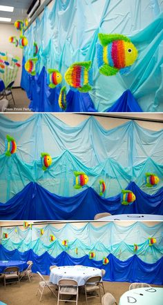 Amazing Under the Sea Party Decorations. Originaly for Ocean Commotion VBS. Great for a mermaid or nemo party. Wave wall with fish. Press Print Party! Under The Sea Party, Under The Sea Theme, Under The Sea Games, Fish Decorations, Under The Sea Decorations, School Decorations, Shark Party, Ocean Themes, Vbs Crafts