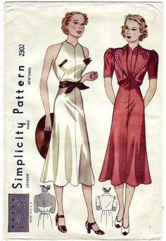Vintage Simplicity :2302 1930's Backless Halter Top Flared Dress and Bolero* Sewing Pattern di AltasPatternCloset su Etsy https://www.etsy.com/it/listing/207154110/vintage-simplicity-2302-1930s-backless