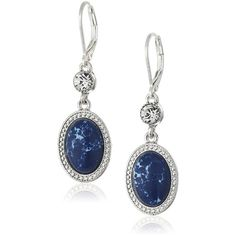 NINE WEST VINTAGE AMERICA Silver-Tone and Denim Blue Oval Drop... ($18) ❤ liked on Polyvore featuring jewelry, earrings, denim earrings, blue drop earrings, drop earrings, silvertone jewelry and silver tone jewelry