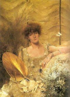 Alfred Stevens (1823-1906) Belgian Painter, Portrait of Sarah Bernhardt as Feodora, 1882