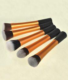 5Pcs Gold Professional Makeup Brush Set New Synthetic Kabuki Kit  Cosmetic
