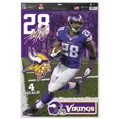 Minnesota Vikings Decal 11x17 Multi Use Adrian Peerson Design Special Order  Nfl 6b4ce0d57