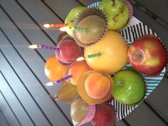 """Fruit """"cupcakes"""" for Honest Carol's birthday. Who said that candles should only go on a cake? Not us!"""