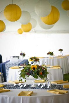 Real Wedding Gallery, Tented Wedding Reception Yellow Navy Color Palette: Outdoor Colorado Wedding - Rustic Elegance