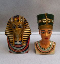 Egyptian Pharoah Tut Queen Nofretete Salt Pepper Shakers
