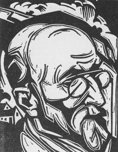 Henri Jonas, portret Frans Erens, houtsnede