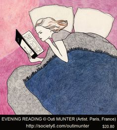 EVENING READING © Outi MUNTER (Artist. Paris, France). Print: $20.80 ... Young woman reading in bed.