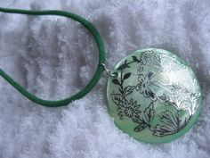 Large Green Color Mother of Pearl Shell Necklace by JetRavenBlack, $5.00