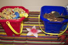EASY kids swimming/beach party ideas...Serve up snacks in sand buckets & use shovel as spoon