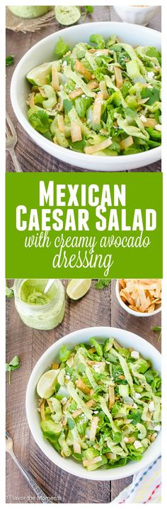 Mexican Caesar Salad with Creamy Avocado Dressing is crisp romaine with pepitas, tortilla strips and cotija cheese with a fresh, light avocado dressing! @FlavortheMoment