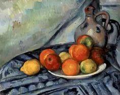 """""""Fruta y Jarra en una Mesa""""  Cuadro tituladoFruta y Jarra en una Mesa, pintado en1892porPaul Cézanne. Autor:Paul Cézanne  Estilo:Impresionismo  Género:Bodegón  Título (inglés):Fruit and a Jug on a Table  Tipo: Cuadro  Técnica: Óleo  Soporte: Lienzo  Año: 1890-94  Se encuentra en: Museo de Bellas Artes de Boston"""