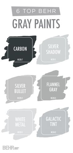 Are you looking for an easy way to update the interior design of your home? Try adding a new coat of paint! Start with this collection of popular gray BEHR Paint colors for inspiration. Neutral shades like Carbon, Silver Shadow, Silver Bullet, Flannel Gra Bathroom Paint Colors, Paint Colors For Home, Paint Colours, Top Gray Paint Colors, Paint For Bathroom Walls, Behr Pintura, Behr Gray Paint, Neutral Paint, Silver Paint Walls