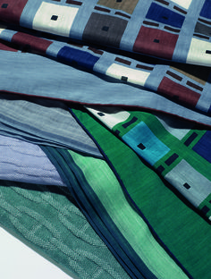 "Hermès Spring-Summer 2014. Scarves ""Kéa"" in cotton, silk and cashmere, cotton scarves, cotton and silk scarves."