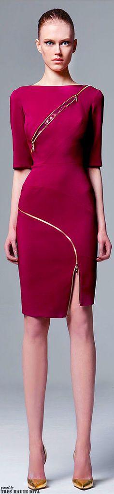 @roressclothes clothing ideas   #women fashion magenta midi dress Zuhair Murad Pre-Fall 2014