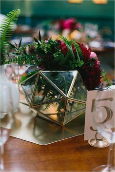 Copper, terrariums and geometric wedding centerpieces