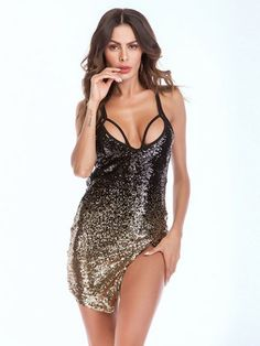 Sexy Club Dress Straps Sequins Glitter Slit Mini Dress #minidress #ClubDress #Sexywear #Chicstyle #Modernlooks #Modernstyle #sexylooks Dress Straps, Mini Club Dresses, Gold Fabric, Colorful Fashion, Clubwear, Party Dress, Sequins, Neckline, Glitter