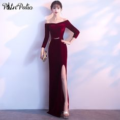 93859178c80 PotN Patio Long Sleeves Formal Evening Gown 2018 Elegant Boat Neck Sexy  Slit Straight Velour Wine Red Evening Dresses