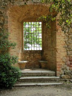 Niche inside the town walls of San Quirico d'Orcia, Tuscany