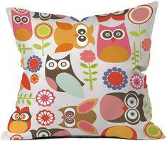Cute Little Owls Throw Pillow