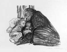 ''Mother and Sleeping Children'' (1919) from the Hunger series by Käthe Kollwitz, documenting life in Germany after World War I. During World War II, the Nazis decreed that her work could no longer be publicly exhibited.