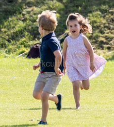 Prince George followed by his sister Princess Charlotte.