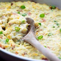 Cauliflower casserole in white baking dish