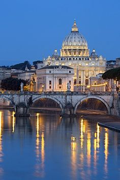 St. Peter's Basilica, the River Tiber and Ponte Sant'Angelo at night, Rome, Lazio, Italy, Europe