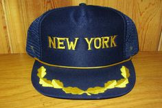 NEW YORK Vintage 80s Snapback Hat Navy Blue Mesh Trucker Style with Golden Laurels & Rope at HatsForward on Etsy