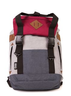 Grey and red G.Ride backpack. Material polyester 600D Cationic . 1 large compartment with inside laptop and zip pocket. Lateral zip for easy access.  Zip Pocket on flap. Flat pocket on front and 2 zipped side pockets. Sueded patchs on flap and sides. Drawstring closure and 2 tucks with harness attach. High quality double handle with snap attach. Reinforced base. High dentisty quilted back and shoulder straps. Size : 33 x 18 x 44
