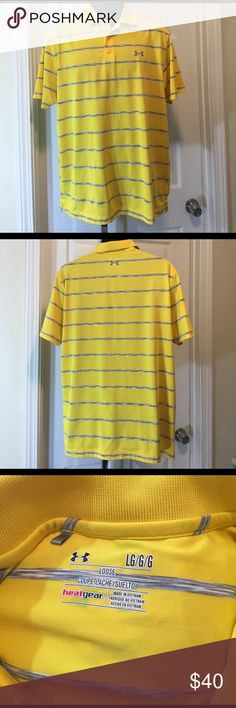 Under Armour yellow striped polo shirt L Knit fabric, like new condition Under Armour Shirts Polos