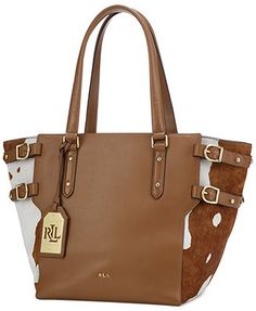 Lauren Ralph Lauren Lorna Haircalf Tote Handbags   Accessories - Macy s 3843151c0ef01