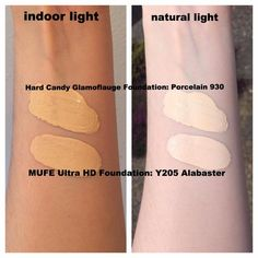 Pale foundation swatches (mostly drugstore)