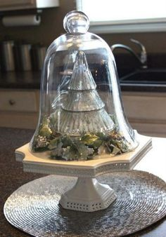 Cloche decorate for Christmas