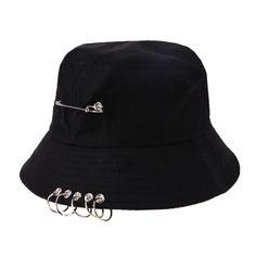Unisex iron ring bucket hat spring summer season boy fisherman hip hop solar hat male folding outside journey cool strong cap Outfits With Hats, Edgy Outfits, Teen Fashion Outfits, Grunge Outfits, Cute Casual Outfits, Fashion Dresses, Mode Emo, Estilo Tomboy, Tomboy Fashion