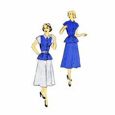 1950s Attractive Two Piece Dress New York 1059 Vintage Sewing Pattern