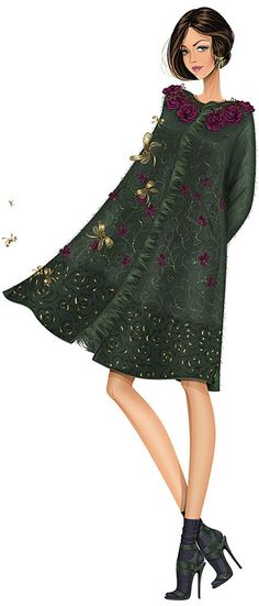 Fashion Illustrations: Alberta Ferretti Fall 2014 RTW, by Svetlana Makarova