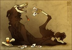 Garzia the Borzoi mongrel. A lifetime of chain smoking has tainted his appearance completely, turning his color palette into shades of rust and tobacco . A Deck with Extra Aces Creature Concept Art, Creature Design, Animal Sketches, Animal Drawings, Wolverine Art, Werewolf Art, Dark Art Drawings, Creature Drawings, Mythical Creatures Art