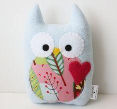 Baby Blue Sweet Owl Plush by gush4plush on Etsy, $18.00