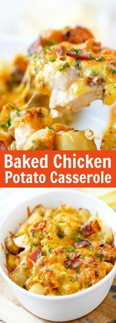 Baked Chicken and Potato Casserole – crazy delicious chicken potato casserole loaded with cheddar cheese, bacon and cream, easy recipe for the family   http://rasamalaysia.com (Baked Potato Top Ideas)