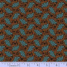 """Old Sturbridge Village by Judie Rothemel for Marcus Fabrics Blue leaves on a brown background 100% Cotton   44-45"""" wide 1800s Reproduction quilt fabric"""