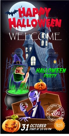 Invitation Flyer for a Party Halloween Vector illustration