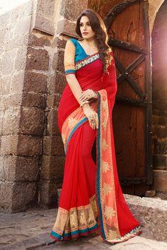 Red Georgette Designer Saree #red #embroidery #borderwork #Trendy #onlinesari #sari #saree #WomenClothing #WomenWear #Designersari #stylishsari #nikvik #usa #designer #australia #canada #malaysia #UAE #freeshipping  Sign up and get USD100 worth vouchers.Price-US$79.86