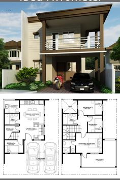 Home Design Plan With 4 Bedrooms. House description:One Car Parking and gardenGround Level: Living room, Dining room, Kitchen, One bedroom, Two Storey House Plans, 2 Storey House Design, Simple House Design, Bungalow House Design, House Front Design, Modern House Design, Door Design, 4 Bedroom House Designs, 4 Bedroom House Plans