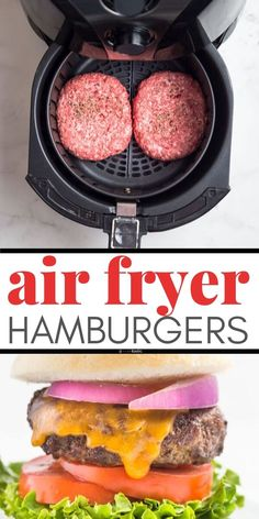 Easy Air Fryer Burgers recipe, this is the best way to cook hamburgers! you can use frozen patties or make your own patty with ground beef, it's very easy. Make them in any air fryer including Phillips and Nuwave. 100% delicious, juicy, and tasty. Keto, Paleo, Low Carb, Whole30, Gluten Free recipe. www.noshtastic.com
