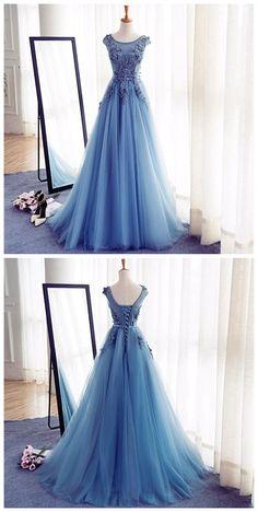 Appliques A-Line Prom Dresses,Long Prom Dresses,Cheap Prom Dresses,