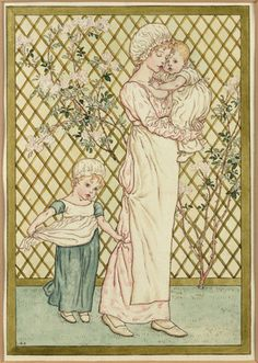 Kate Greenaway, [1846--1901] illustrator. She drew her characters in the Regency-Empire style of Great Britain.